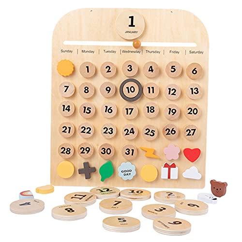 Sharplace Escritorio perpetuo de Madera Maciza y Calendario de Pared Agregue a su hogar con el Calendario Decorativo de Aprendizaje Activo Montessori Tiempo