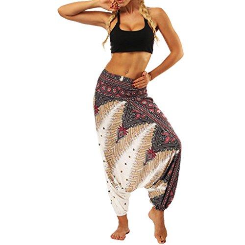 Haremshose,Resplend Thai Hippie Boho Hose Lässige Lose Yoga Hosen Baggy Hosenrock Aladinhose Yogahosen Pumphose Für Damen & Herren (Weiß)
