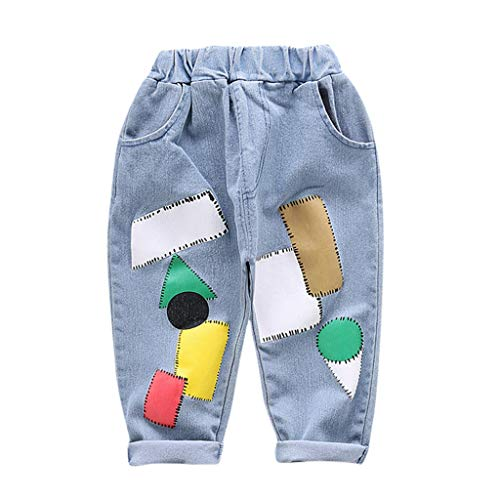 Toddler Kids Boys Elastic Mid Waist Washed Full Length Straight Pants Denim Jeans Repair Patch Print Trouser for 1-4 Yrs Light Blue