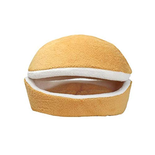 Meijin Cama cálida para gatos y hamburguesas, desmontable, resistente al viento, para mascotas, nido de hamburguesa, moño de invierno (color: amarillo, tamaño: 45 x 32 x 32 cm)