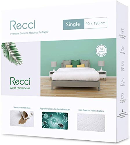RECCI Premium Bamboo Mattress Protector - Single Mattress Protector, 100% Bamboo Fabric Surface Mattress Cover, Waterproof Bed Cover, Anti Allergy, Bed Bug Proof【Single Size - 90 x 190 cm】