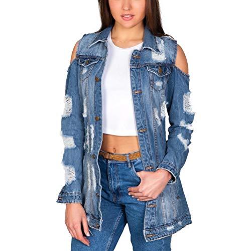 ORANDESIGNE Damen Jeansjacke Oversized MIT Rissen Jeans Denim Jacket Vintage Lang Used Wash ÜBERGANGSJACKE Blogger Denimwear Parka BLAU Denim Destroyed Mantel Cut Out Look L