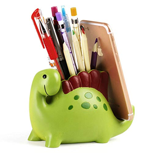 Dinosaur Pencil Holder With Phone Holder Desk Organizer Desktop Mobile Phone Bracket Pen Pencil Stand Storage Pot Holder Container Stationery Box Organizer (Dinosaur)
