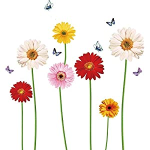 iMagitek Colorful Sunflower with Butterfly Wall Decal Decorations for Living Room, Bedroom, Kitchen, Kids Room