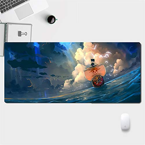 Mxdfafa Anime One Piece Printed Extended Gaming Mouse Pad Mat, XXL Large Wide Keyboard Desk Mat for Laptop MacBook Computer - Non-Slip Rubber Base with Stitched Edge