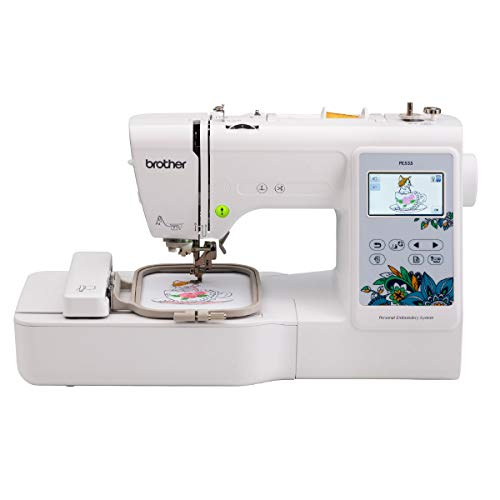 Brother PE535 Embroidery Machine, 80 Built-in Designs, 4' x 4' Hoop Area, Large 3.2' LCD Touchscreen, USB Port, 9 Font Styles