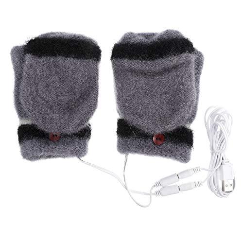 TOYANDONA 1 par de Guantes con Calefacción USB Guantes de Invierno Cálidos para Computadora Portátil Medias Manos Calentadas sin Dedos Calefacción Tejido de Manos Calentador para Oficina en