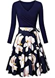 EFOFEI - Vestido casual de manga larga para mujer, estilo Audrey Hepburn B-bleu Marine / Lily XL