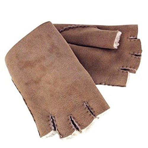 Celtic & Co. Womens Fingerless Shearling Gloves - Walnut - Size Medium