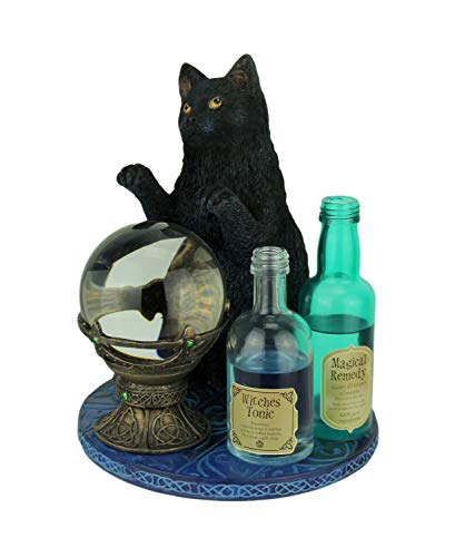 Veronese Design Witch's Apprentice by Lisa Parker Black Cat and Crystal Ball Statue