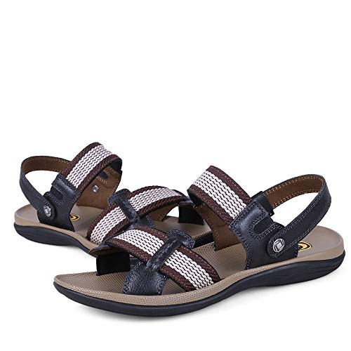 Yaunli - Sandalias para hombre, antideslizantes, informales, de verano, para playa, deportes, al aire libre, con puntera abierta, 3 colores, zapatos de playa, pu, negro, 47