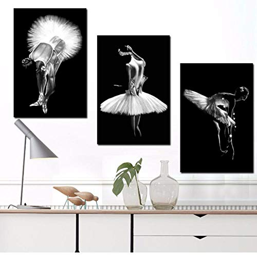 Terilizi muurkunst canvasdruk schilderij dansen ballerina zwart-wit vintage poster Home decoratieve woonkamer modulaire foto´s-40X60Cmx3 geen lijst