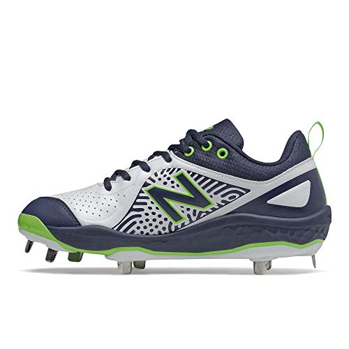 New Balance Women's Fresh Foam Velo V2 Metal Softball Shoe, Darker Royal/Lime Green/Black, 8.5