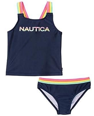 Nautica Girls Tankini Swim Suit with 50+ Sun Protection, Peacoat, Medium (8/10)
