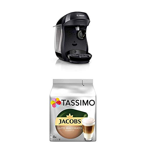 Bosch TAS1002 Tassimo Happy Kapselmaschine,1300 W, platzsparend, große Getränkevielfalt, real black + Tassimo Jacobs Typ Latte Macchiato Classico, 5er Pack Kaffeespezialität T Discs (5 x 8 Getränke)
