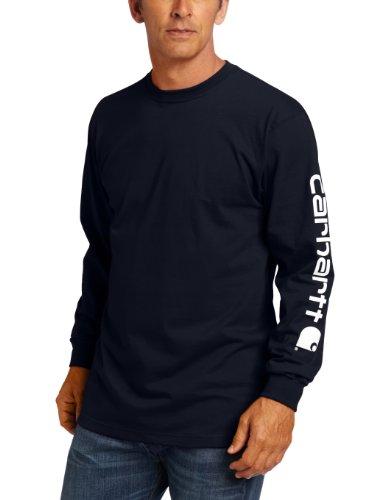 Carhartt Men's Big & Tall Signature Sleeve Logo Long Sleeve T-Shirt ,Navy,2X-Large/Tall