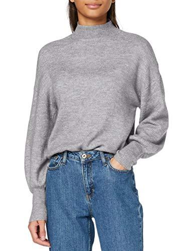 VERO MODA Damen VMSIMONE LS Highneck Blouse GA NOOS Bluse, Light Grey Melange, M
