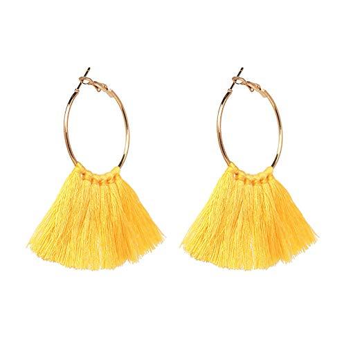 Yhhzw Pendientes Bohemia Aleación Multicolor Borla Pendientes Moda Simple Señoras Temperamento Pendientes-Amarillo