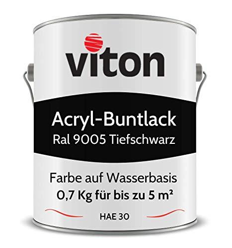 Buntlack von Viton - 0,7 Kg Schwarz - Seidenmatt - Wetterfest für Außen und Innen - 2in1 Grundierung & Lack - HAE 30 - Nachhaltige Farbe auf Wasserbasis für Holz, Metall & Stein - RAL 9005 Tiefschwarz