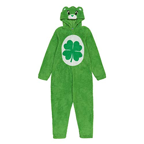 Care Bears Men's One Piece Hooded Pajama, Good Luck Bear, S