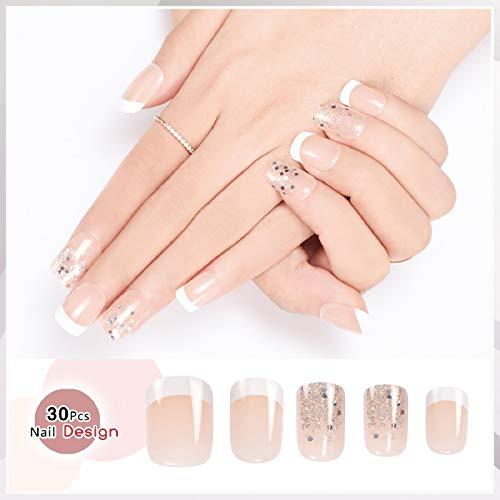 Doreliss uñas postizas 30 Pcs Consejos corto uñas falsas de Pegamento adhesivo de doble cara (Claro Rosa)