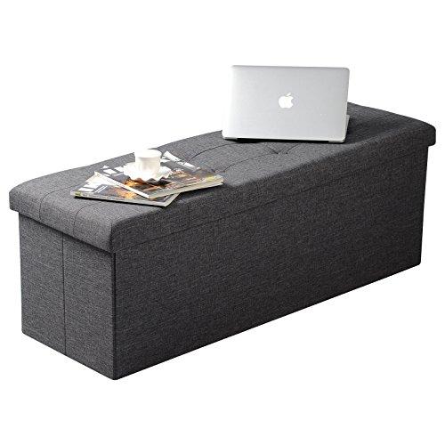 WOLTU Sitzhocker mit Stauraum Sitzbank Faltbar Truhen Aufbewahrungsbox, Deckel Abnehmbar, Gepolsterte Sitzfläche aus Leinen, 110x37,5x38 cm, Dunkelgrau, SH11dgr-1 - 3