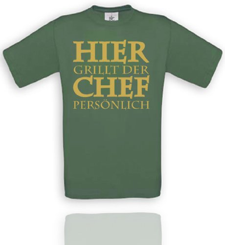 Comedy Shirts Diverse Couleurs – Ici grillt der Chef persönlich Unisexe XXL - Olive/Gold