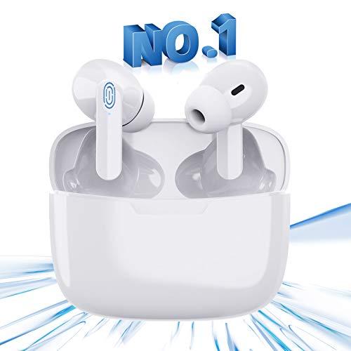 Auriculares Bluetooth,Auriculares inalámbricos,Auriculares Bluetooth 5.1 en la Oreja con Caja de Carga de 24 Horas, Micrófono Incorporado, Control Táctil,Auriculares Blancos para Android/iPhone