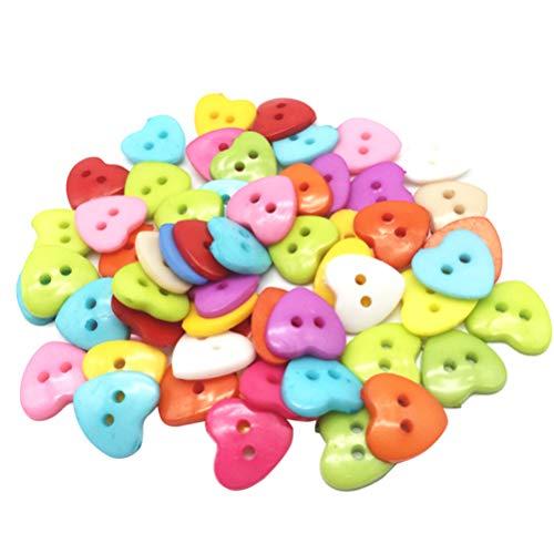 Artibetter 100 unidades de botones de plástico con forma de corazón, 2 agujeros para coser, scrapbooking y manualidades, boda