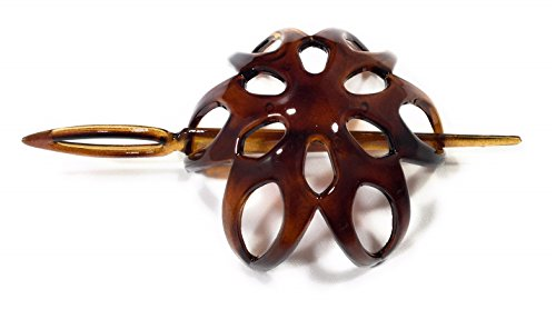 niavida Haarspange DUTT HAVANNA-BRAUN mit Haarstab 6,5 cm Höhe 3,5 cm made in France