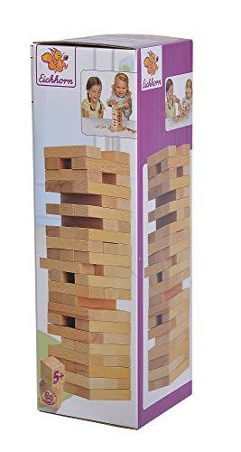 Eichhorn Stapelspiel, Geschicklichkeitsspiel für die ganze Familie, Balance Tower gefertigt aus unbehandelten Holz, Wackelturm 54 teilig, geeignet ab 5 Jahren