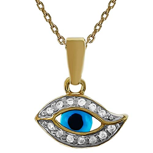 Collar con ojo chapado en oro 750/000 y óxido de circonio – Longitud 42 cm – Mujer