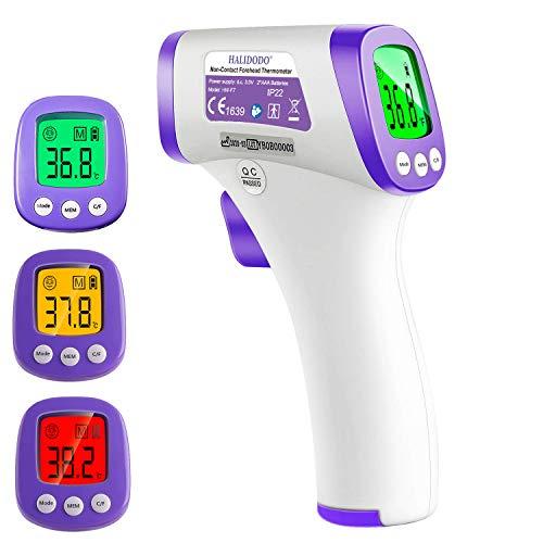 HALIDODO Termómetro digital sin contacto, Termómetro láser, Sensor infrarrojo, Alarma de fiebre, Lectura digital, Pantalla LCD
