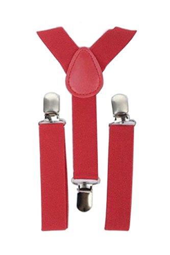TOOGOO Bambini delle ragazze dei ragazzi di Y-back bretella elastica regolabile Clip-On Bretelle Rosso