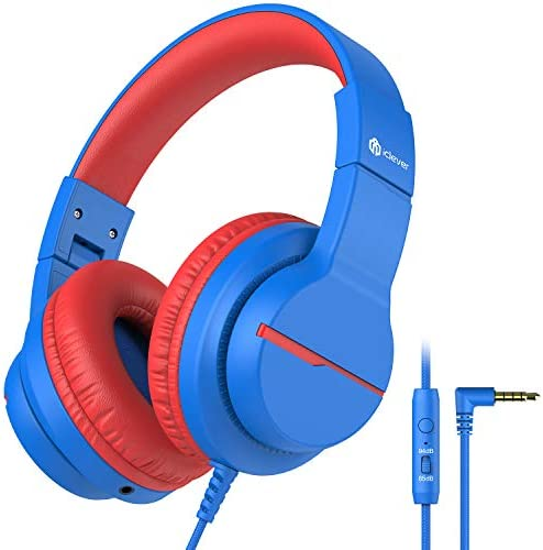 iClever HS19 Kids Headphones with Microphone for School, Volume Limiter 85/94dB, Over-Ear Girls Boys Headphones for Kids with Shareport, Foldable Wired Headphones for iPad/Fire Tablet/Travel, Blue