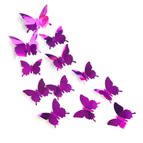 JUN-H 12 PCS 3D Mariposas Decoración Espejo Mariposa Pegatinas de pared Calcomanías de pared Pegatinas de decoración Puntos para el hogar, jardín, balcón, decoración de la habitación (púrpura)