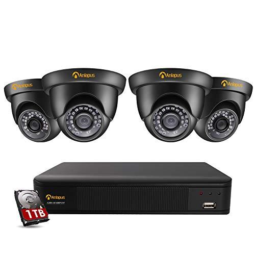 Anlapus Full HD 1080P Außen Video Überwachungssystem 8CH H.256+ HDMI DVR mit 1TB Festplatte und 4 Wasserdicht Dome Überwachungskamera Set