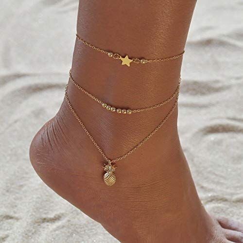 HENGTONGTONGXUN Bohemian 6pcs/lot Anklets Sets For Women Anklet Bracelet on Leg Gold Heart Love Bar Infinity Foot Chain Ankle Beach Jewelry Easy to use (Metal Color : BB617)