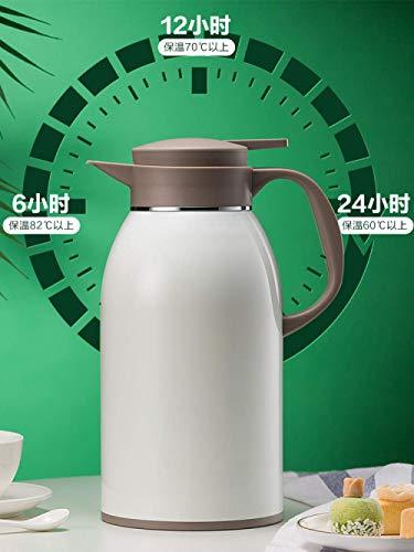 Isolation Kettle ménages Isolation Bouilloire Thermos grande capacité en acier inoxydable en eau libre Chauffage Bouilloire Liner-Obsidian 2000ml Noir kyman (Color : Elegant White 2000ml)