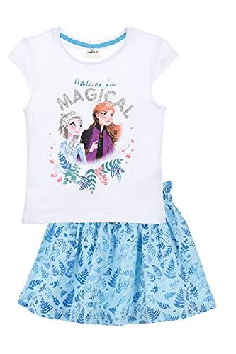 Eiskönigin 2 T-Shirt und Rock als Set Anna und ELSA (Weiss, 104)