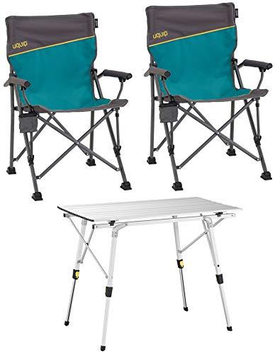 Uquip, Bloody – Set Tavolo e sedie da Campeggio Composto da 1 Tavolo in Alluminio Pieghevole e 2 sedie Sdraio Pieghevoli