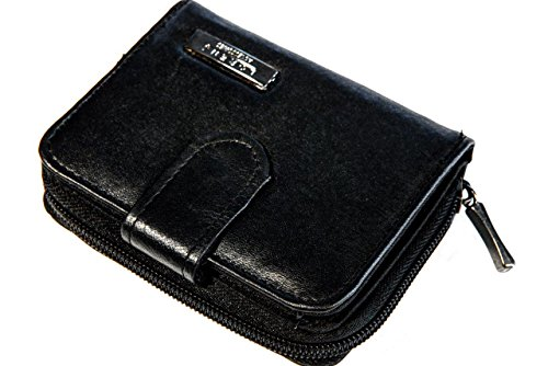 Lorenz Small Black Leather Zip Around Purse With Built In...