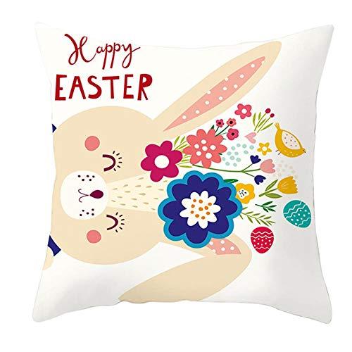 Preisvergleich Produktbild Wakerda Ostern Kissenbezug,  Quadratisch,  Dekorativ,  Kissenbezug Für Sofa,  Ohne Kern,  45 x 45 cm