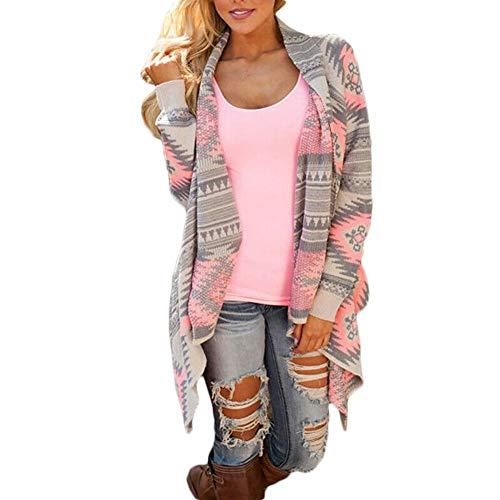 Snow Island Damen Strickjacke Strickpullover Schal Mantel Jacke Outwear Pullover Langarm XX-Small rose