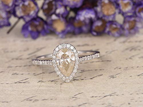 Moissanite Engagement Ring Solid 14k White Gold 5x7mm Pear Shaped Cut Solitaire Halo Wedding Ring Diamond Anniversary Gift Bridal Ring Set Charles and Colvard Women Men