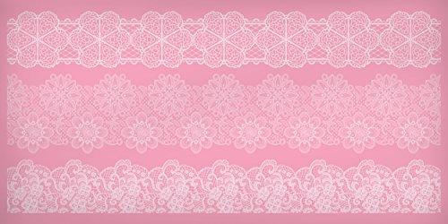 Kitchen Craft - 39 x 19,5 cm, Tappetino in Silicone Panifici & iacute, Una, Decorazione n Pizzo, Rosa