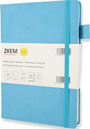 2KEM Notizbuch A5 - Bullet Journal - Hardcover (PU-Leder), 240 Seiten cremefarbenes Papier / 110g/m², Dotted/gepunktet, mit Falttasche, Gummiband, Stifthalter, Lesezeichen - Ideal als Geschenk