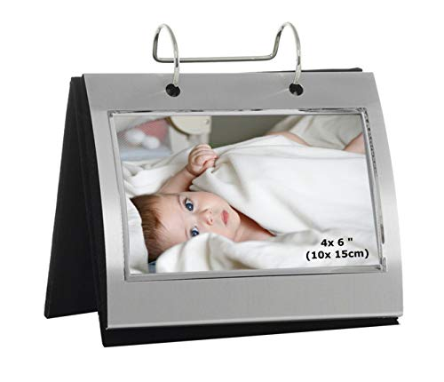 Photo Frames Silver Colour Free Standing Flip Album - Holds 50 of 6 x 4 inch photos
