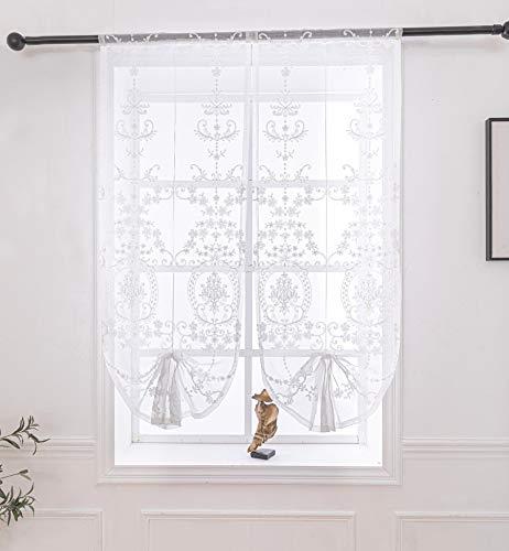Lactraum Raffrollo Raffgardinen Wohnzimmer Weiß Tranparent Bestickt Vintage Klassische Voile 55 x 145 cm(B x H)