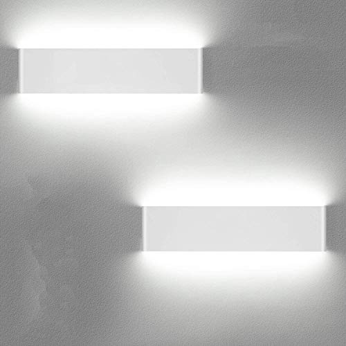 LEDMO 2 Piezas Apliques Interior Pared 12W Blanco frío, Apliques de Pared 36CM Superior Modernos de 110V-260V, Lamparas de Pared Perfecto Para Salon Dormitorio Sala Pasillo Escalera